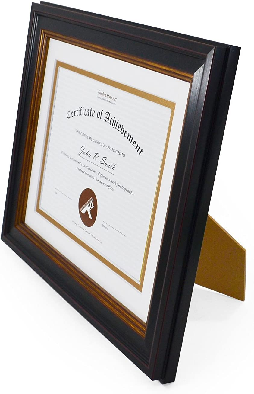 Table Top//Wall Golden State Art Color: Black with Gold /& Burgundy for 6x8 Diploma//Certificate//Picture /& Real Glass White//Gold Includes Back with Easel Stand 8x10 Picture Frame a Double Mat