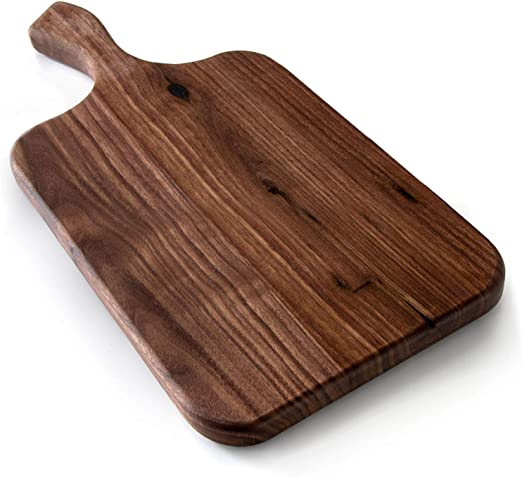Amazon Com Brazos Home Medium Organic Wood Cutting Board Used For Serving Chopping Fruit Vegetables Or Meat And As A Charcuterie Platter Seasoned Dark Walnut 13 5 X 7 X 75 Kitchen Dining