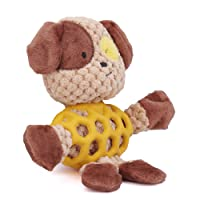 EEToys Durable Tough Low Stuffing Interactive Dog Squeaky Plush Toy for Preventing Boredom Rhino