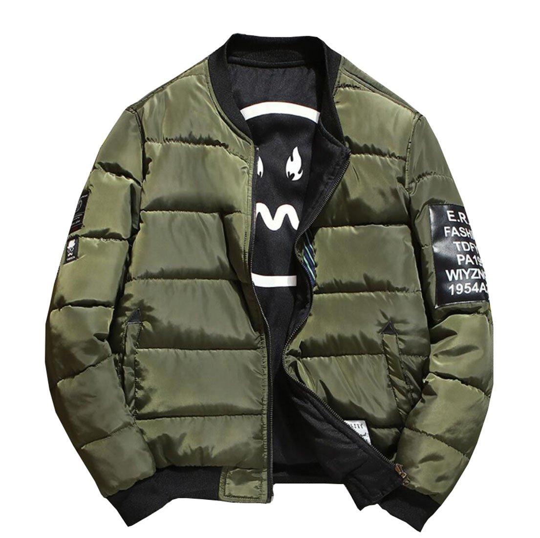 Men's Winter Fashion Reversible Bomber Jacket Army Green Asian L