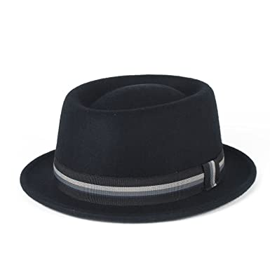 Stylish Navy 100% Wool Pork Pie Hat Waterproof   Crushable 978ca418ede2