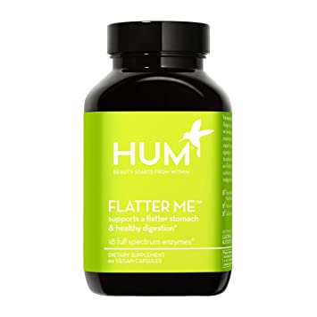 HUM Flatter Me Digestive Enzymes - Amylase Lipase & Bromelain for Healthy Digestion Supplement - Supports Occasional Bloating Relief, Nutrient Absorption & A Flatter Stomach (60 Vegan Capsules)