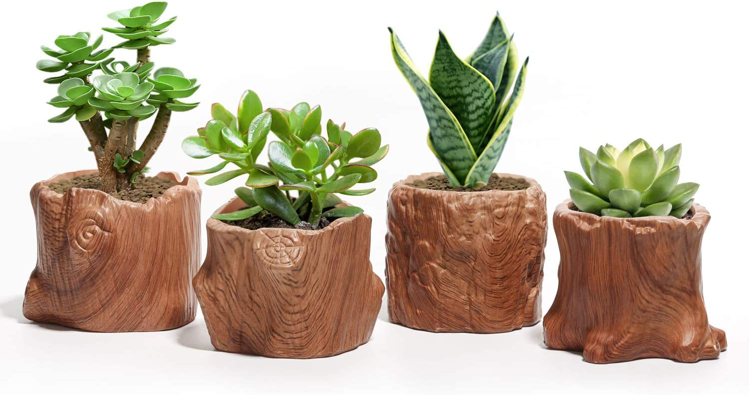 T4U Ceramic Succulent Pots Tree Stump Collection Set of 4, Imitation Wood Grain Small Planter Pot with Drainage, Brown Porcelain Herbs Cactus Bonsai Container for Home and Office Decoration
