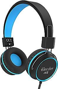 Elecder i42 Kids Headphones, Safe Volume Limited 85dB, Foldable Adjustable On Ear Headphones, 3.5mm Jack Compatible with Cellphones, Computer, MP3/4 Kindle Tablet School (Black/Blue)
