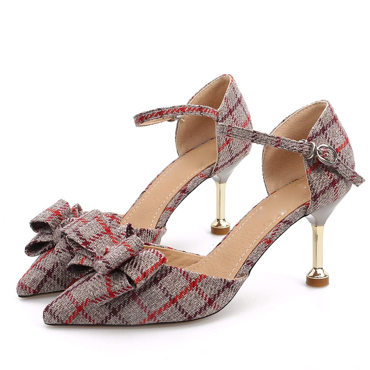 SFSYDDY-Sandals 8Cm High Heels Fine Summer Heel Pointed Fashion Bow Tie Women's Shoes Single Buckles Checked Shoes.Thirty-Nine Gules