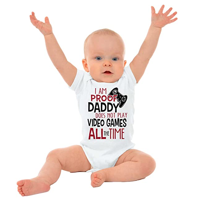 Daddy Video Games Funny Quote Flirty Ironic Cute Newborn Baby Romper Bodysuit