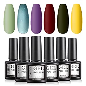 TOMICCA Gel Nail Polish Set, Red Yellow Green, 6 Christmas Colors, UV LED Soak Off Gel Starter Kit, Gel Manicure at Home Kit, No Chip & Non Toxic - 6 × 8ml