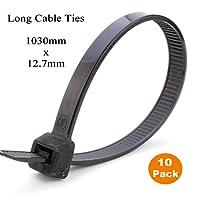10 x 1 Metre Black Extra Long Cable Ties 1030mm x 12.7mm Heavy Duty Zip Tie