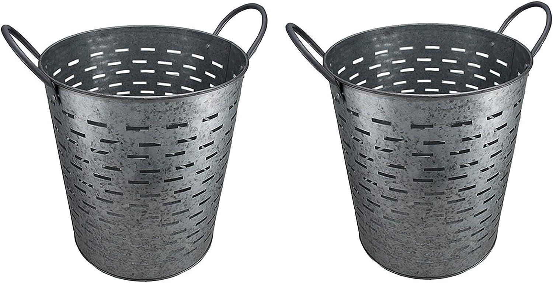 Set of 2 Galvanized Metal Olive Buckets w/Built-in Handles