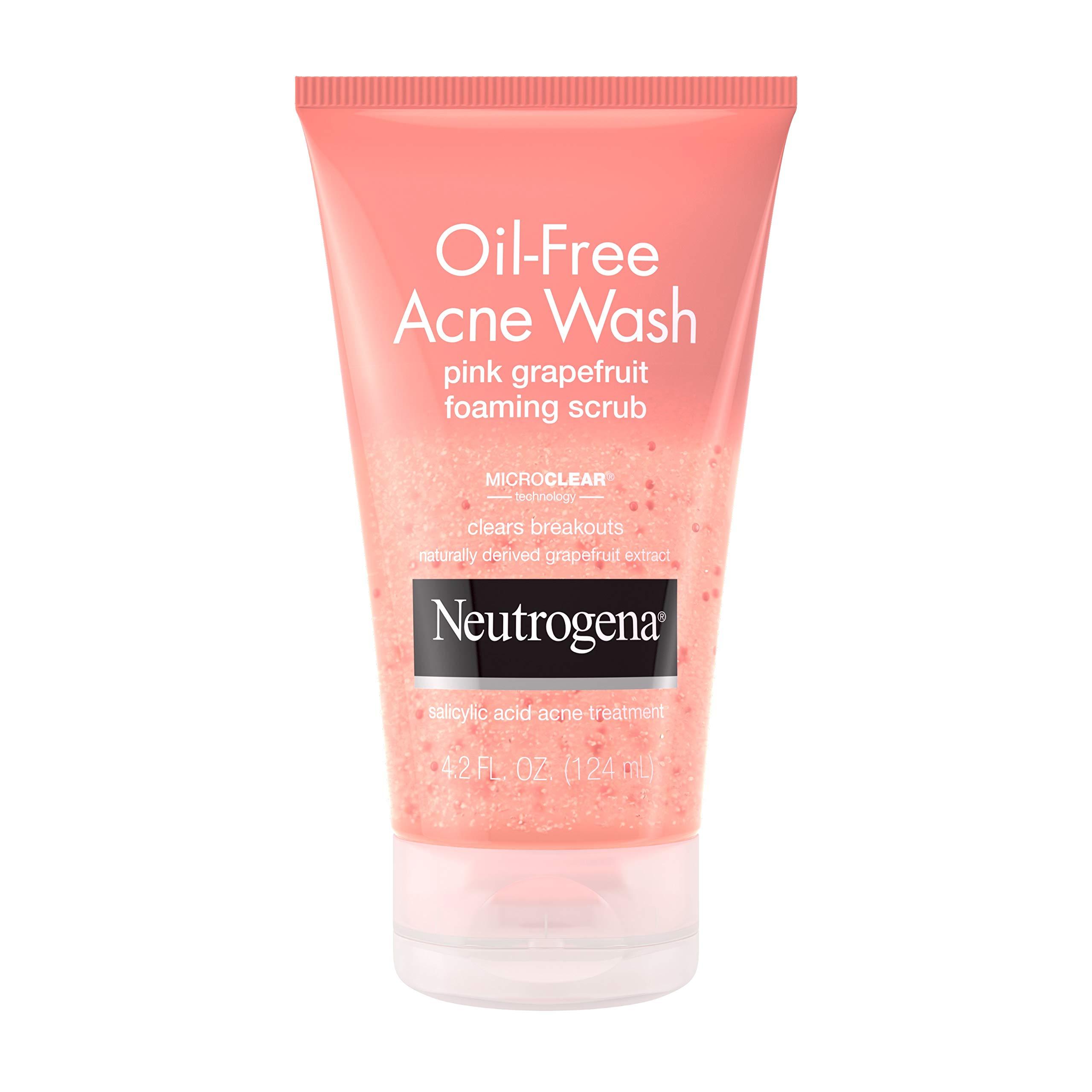 Neutrogena Oil Free Pink Grapefruit Acne Face Wash with Vitamin C, Salicylic Acid Acne Treatment Medicine, Gentle Foaming Vitamin C Facial Scrub to Treat and Prevent Breakouts, 4.2 fl. oz