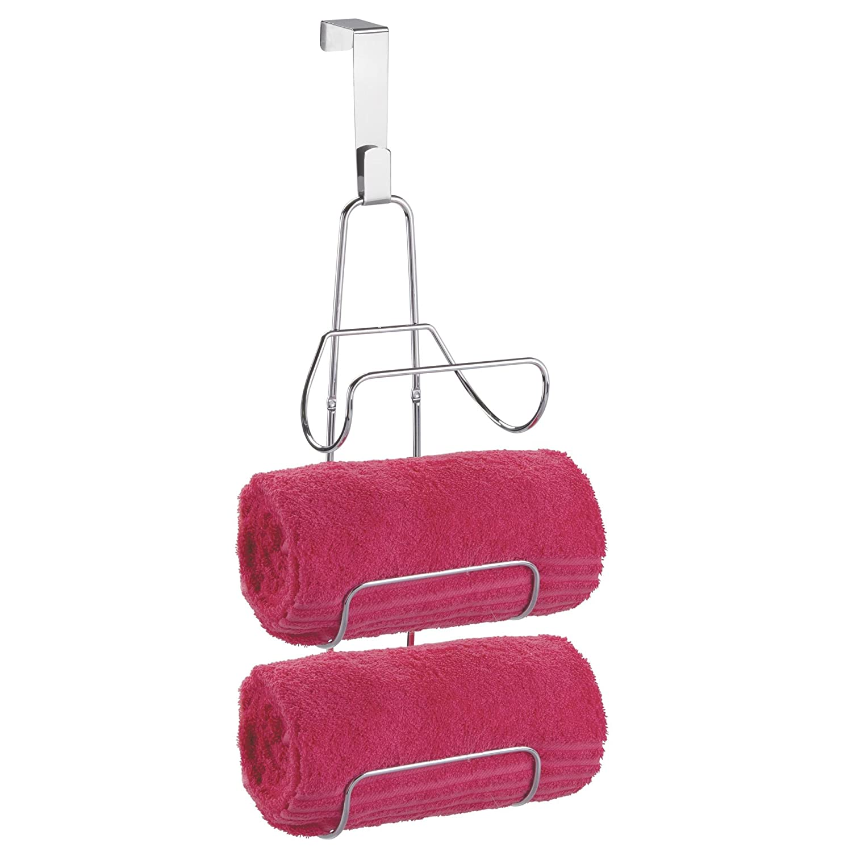 mDesign Over-Door Bath Towel Holder for Bathroom - Chrome MetroDecor 1997MDBST