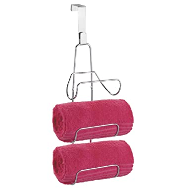 mDesign Modern Decorative Three Level Bathroom Towel Rack Holder & Organizer - Hang Over Shower Door or Wall Mount - for Storage of Bath Towels, Washcloths, Hand Towels - Chrome