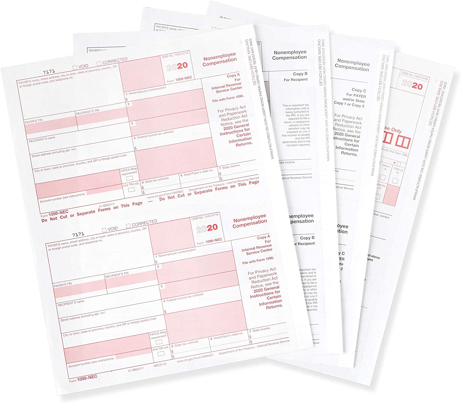 Blue Summit Supplies 1099-NEC 4-Part Tax Form Kit, 2020, Software and Envelopes NOT Included, Designed for use with QuickBooks and Accounting Software, 25 Pack