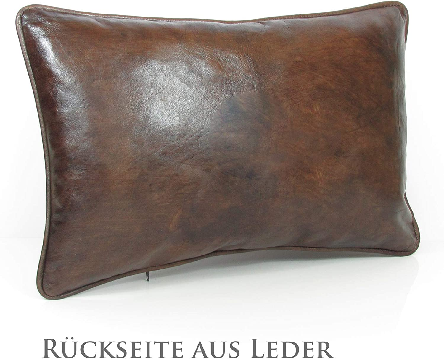 Almadih Real Lambskin Leather Brown Xl Cm Vintage Cushion 100 Traditional Handmade Real Leather Sofa Decorative Cushion Oriental Lounge Pillow With Filling Cushion 50x35 Brown Amazon Co Uk Kitchen Home