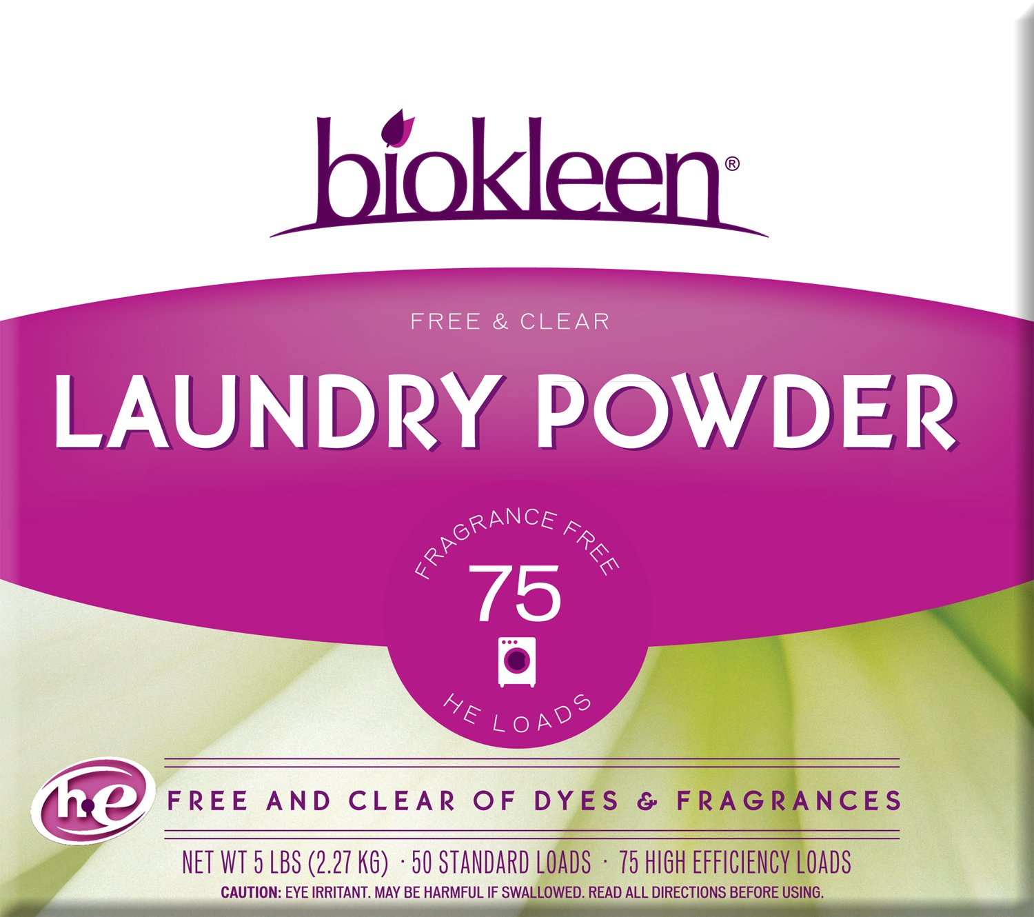 Biokleen Laundry Powder, Free & Clear, 5 Pounds (Pack of 8) by Biokleen
