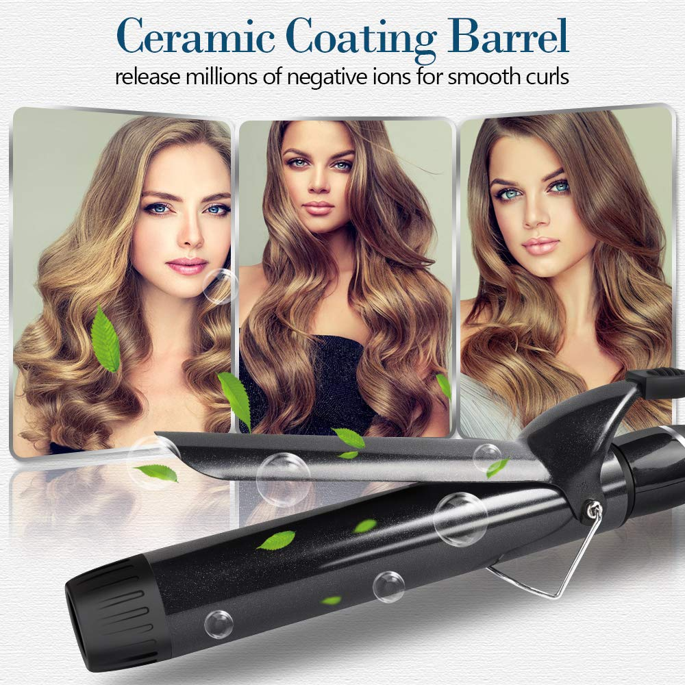 Ouiast Curling Iron, 1.5 inch Curling Wand Instant Heat with Ceramic Coating Barrel, 1 1 2 inch to Create Large Loose Hair Style with Dual Voltage and Anti-scale Tip