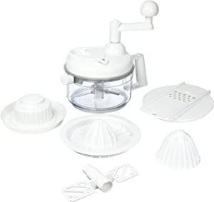 Weston Multi Function 8-Cup Manual Mixer , Chop and Mix in One Container, 3 Blade Chopper,White