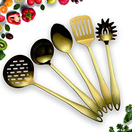 HOMQUEN Stainless Steel Kitchen Utensil Set - Gold 5 Cooking Utensils,  Nonstick Kitchen Utensils Set, Include Slotted Turner, Soup Ladle, Spoon,  ...