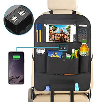 Black Zooawa Car Backseat Organizer for Kids Toddlers and Baby Seat attachable Storage /& Organizers Pockets with ipad Tablet Holder Seat Back Protector Kick Mat Car Organizer