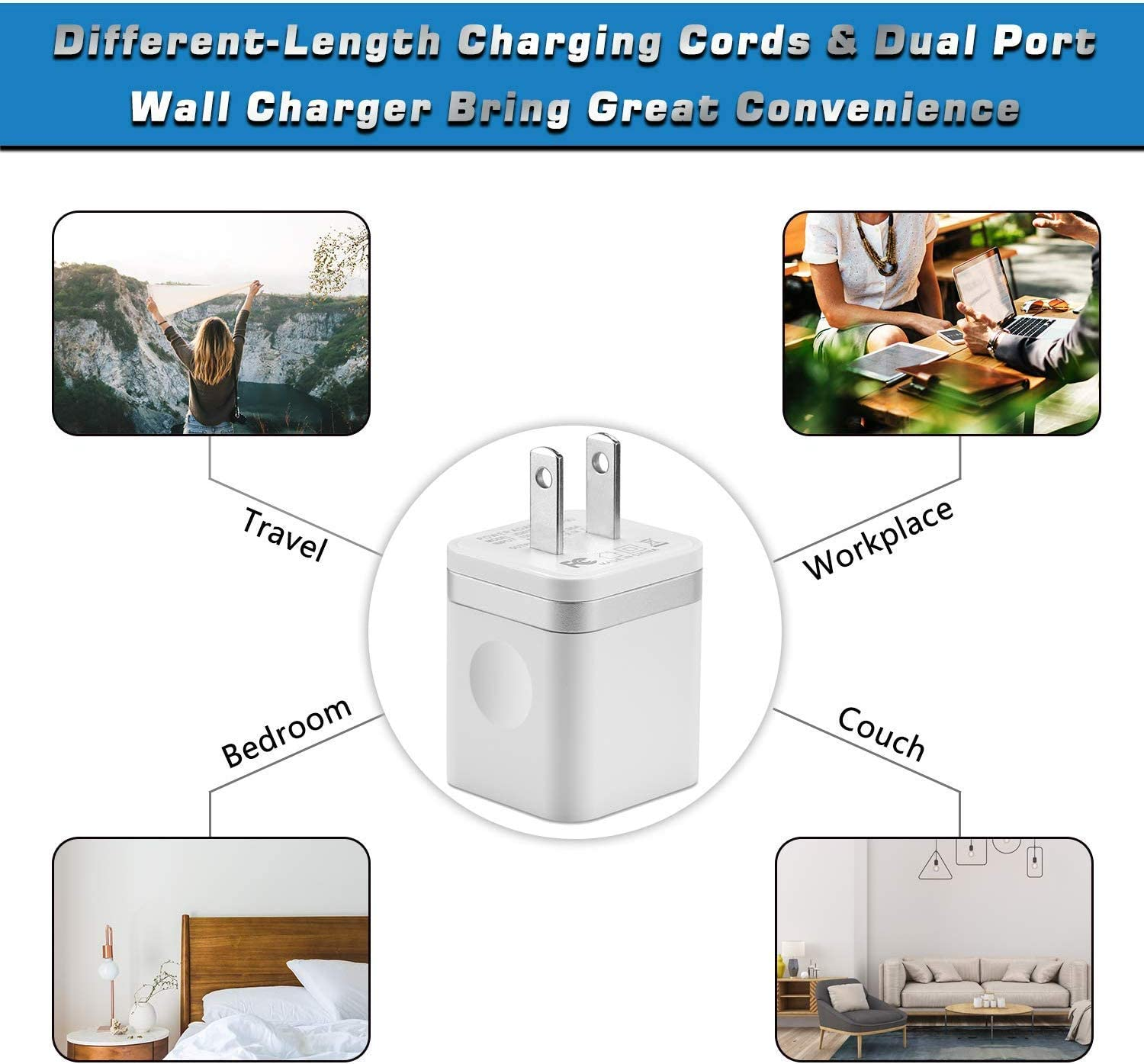 6FT X 3 Extra Long Fast Charging /& Sync Cable with 2 X Dual Port USB Wall Charger Plug Adapter Compatible with iPhone 11 Xs Max XR X 8 7 6S 6 Plus SE 5S Pad GLUGRU Phone Charger 5-Pack