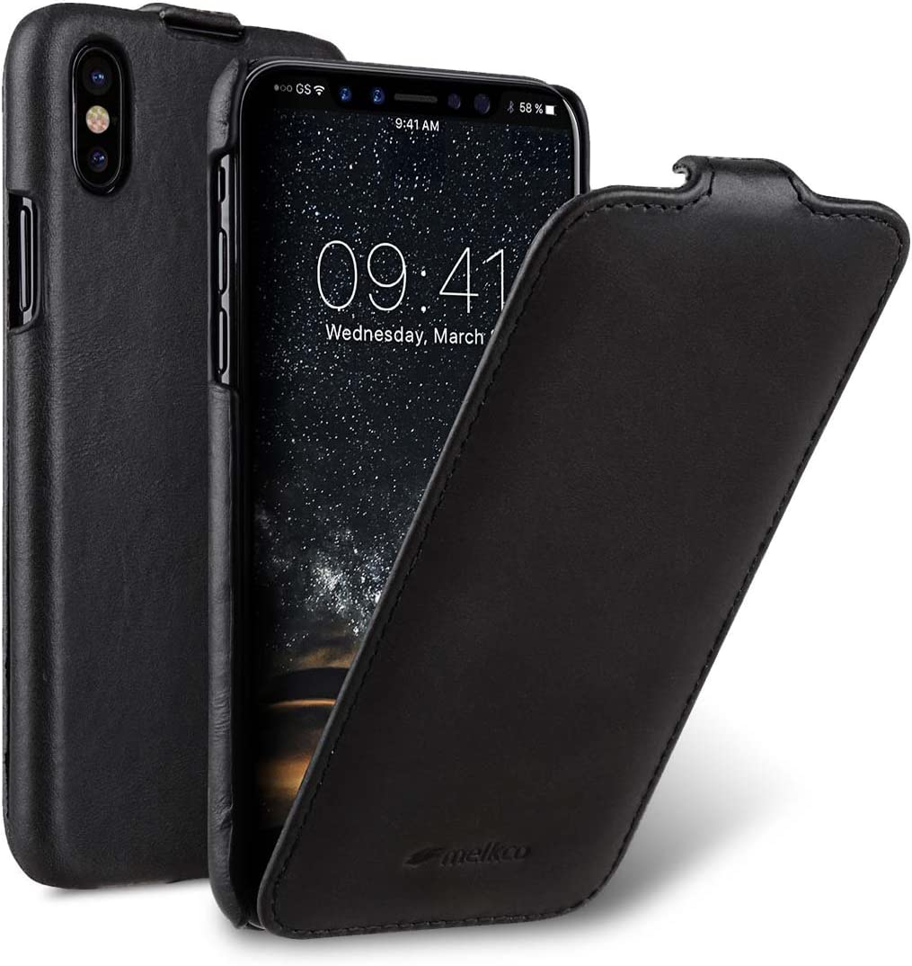 Melkco Premium Leather Case for Apple iPhone X/XS - Jacka Type (Vintage Black)