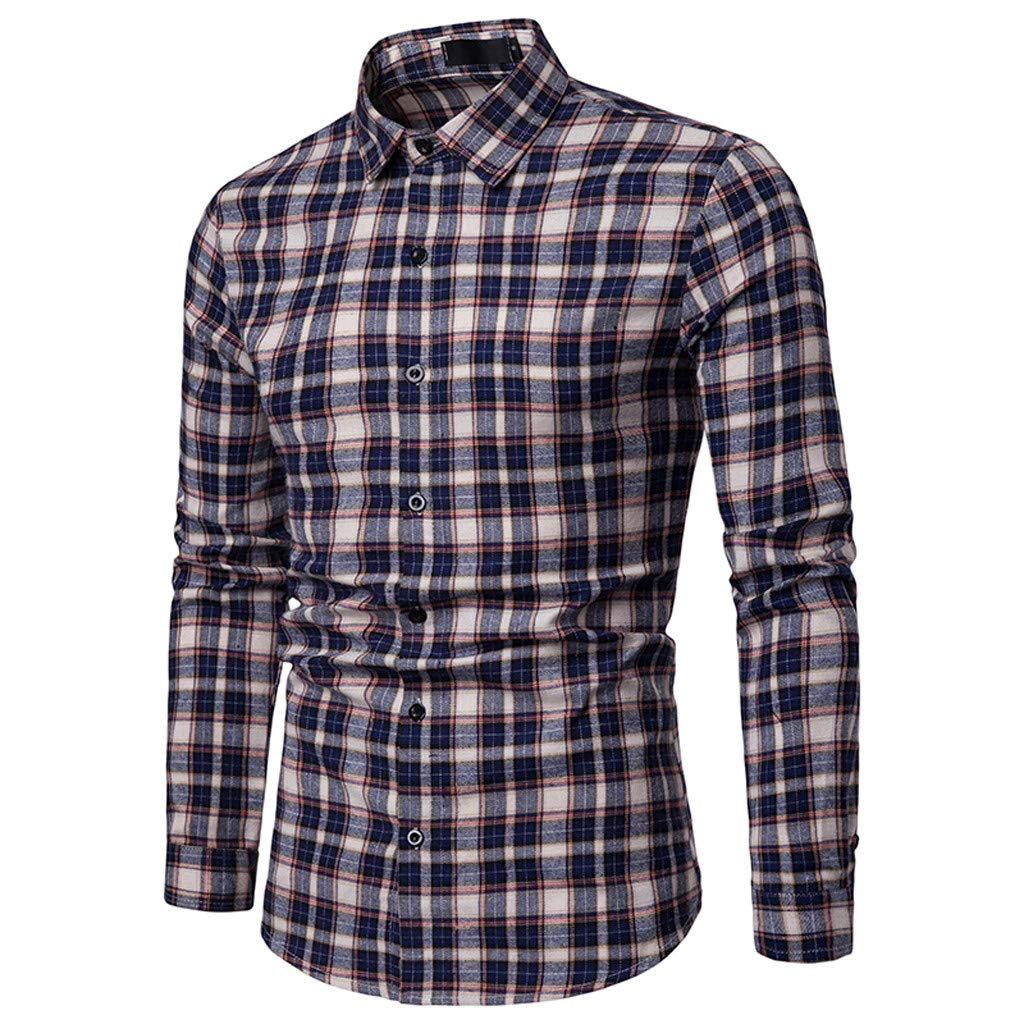 NUWFOR Men's Long Sleeve Lattice Plaid Painting Large Size Casual Top Blouse Shirts(Navy,L US Chest:41.7''