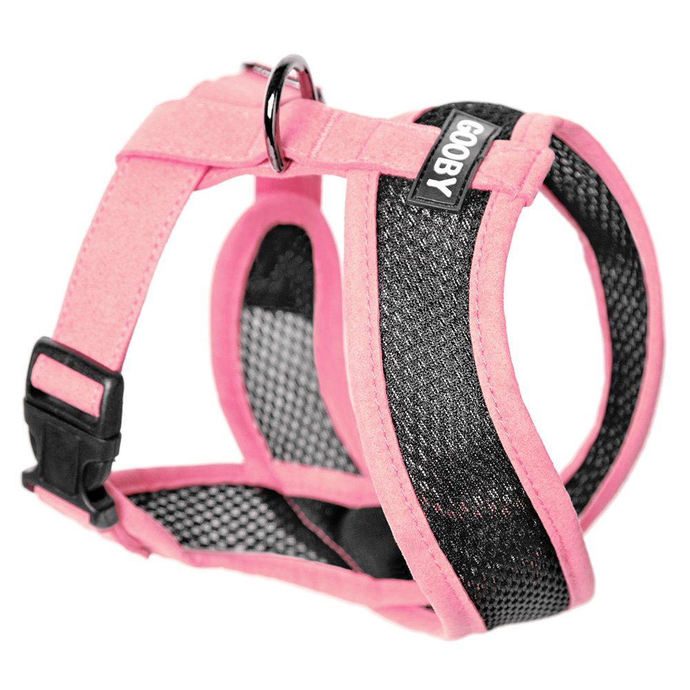 Gooby - Active X Head-in Harness, Choke Free Small Dog Harness with Synthetic Lambskin Soft Strap, Pink, Medium by Gooby