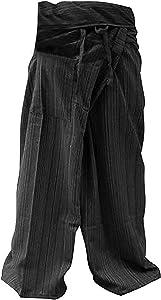 GABUR LannaPremium Authentic 100% Cotton Drill Gangaeng Thai Fisherman Pants Yoga Trousers Plus Size Cotton, 2X-Large, Drill Charcoal