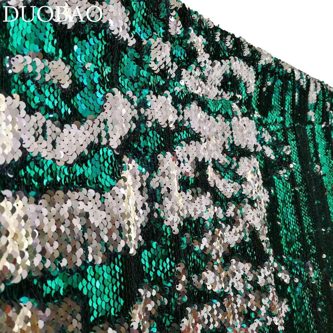 DUOBAO Sequin Backdrop 20FTx10FT Green to Silver Wedding Pics Backdrop Mermaid Reversible Sequin Photo Backdrop Baby Shower Curtains