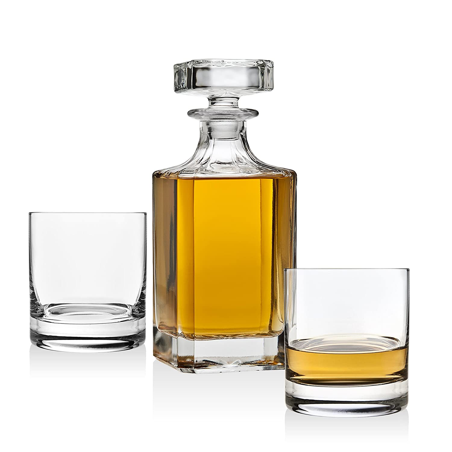 Whiskey Decanter set for Liquor Scotch Bourbon or Wine, Includes 2 DOF whisky glasses Lefonte