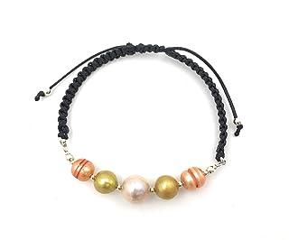 Bracciale in argento, perle coltivate e macramè perle coltivate e macramè