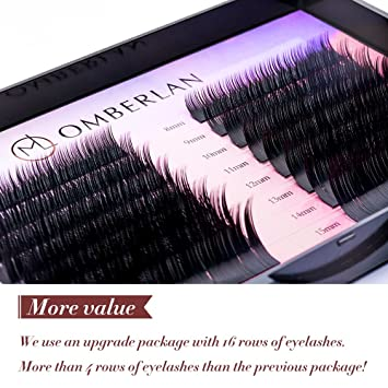 4d6deaf930a Omberlan Eyelash Extensions - 16 Rows 0.15mm C Curl Lash Extensions 8-15mm  Mixed
