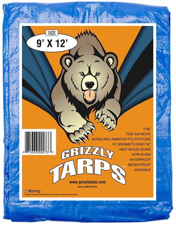 B-Air Grizzly Tarps - Large Multi-Purpose, Waterproof, Heavy Duty Poly Tarp Cover - 5 Mil Thick (Blue - 9 x 12 Feet)