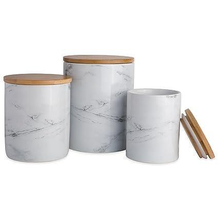 Bon DII CAMZ38970 Marble Ceramic Canister Set/3, White