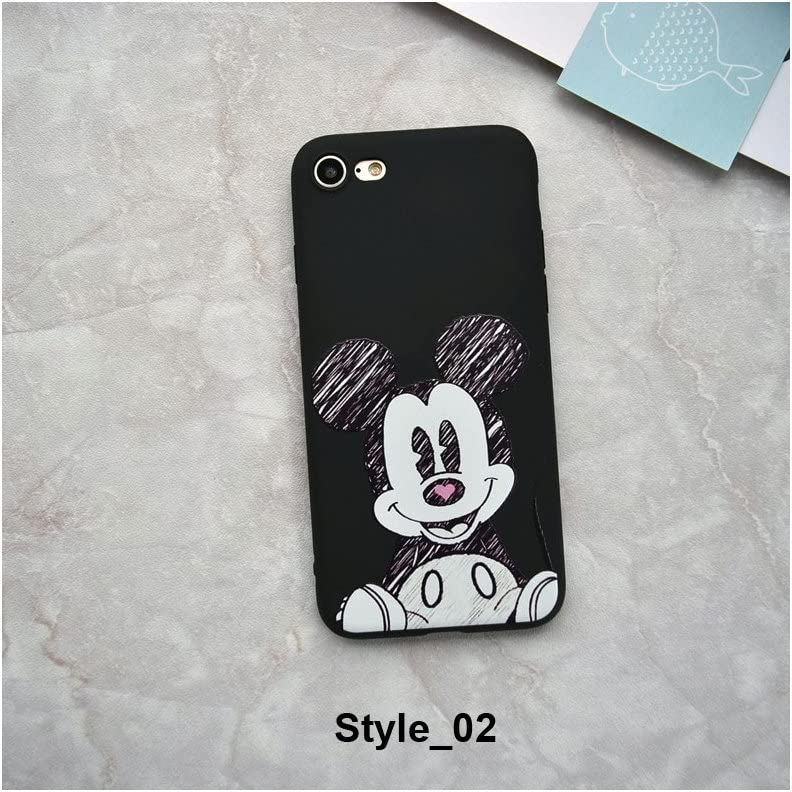 Cute Cartoon Mickey Minnie Mouse Strike Glass Cover Soft TPU Silicone Case for iPhone Case Cover for I Phone XR (I Phone XR / Style_02)