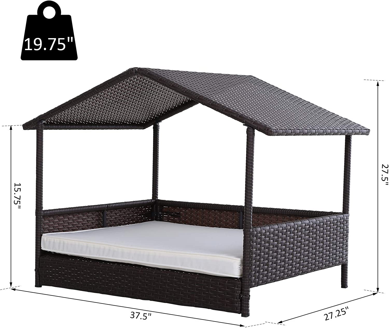 PawHut Elevated /& Cushioned PE Rattan Dog//Cat House for Pets with Comfortable Sleeping Pad /& Weather-Fighting Material