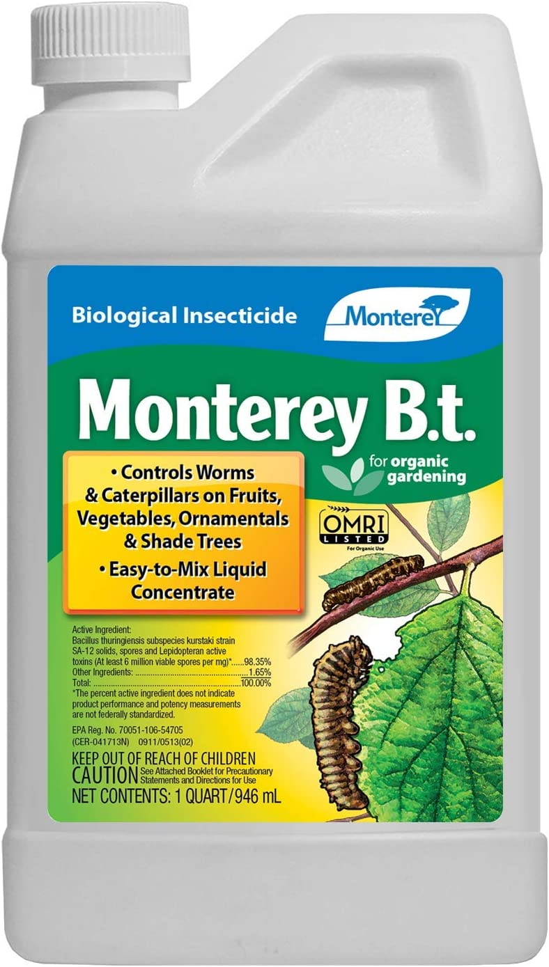 Monterey LG 6336 Bacillus Thuringiensis (B.t.) Worm & Caterpillar Killer Insecticide/Pesticide Treatment Concentrate, 32 oz