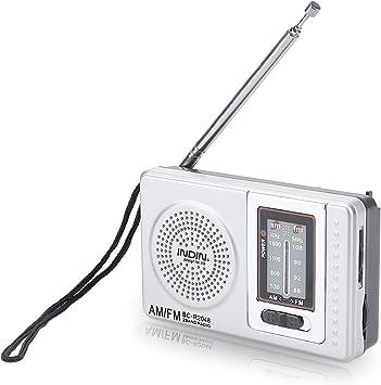 Szaerfa Pocket Pequeña Radio Portátil Am FM Antena para Wallking Funciona con Pilas