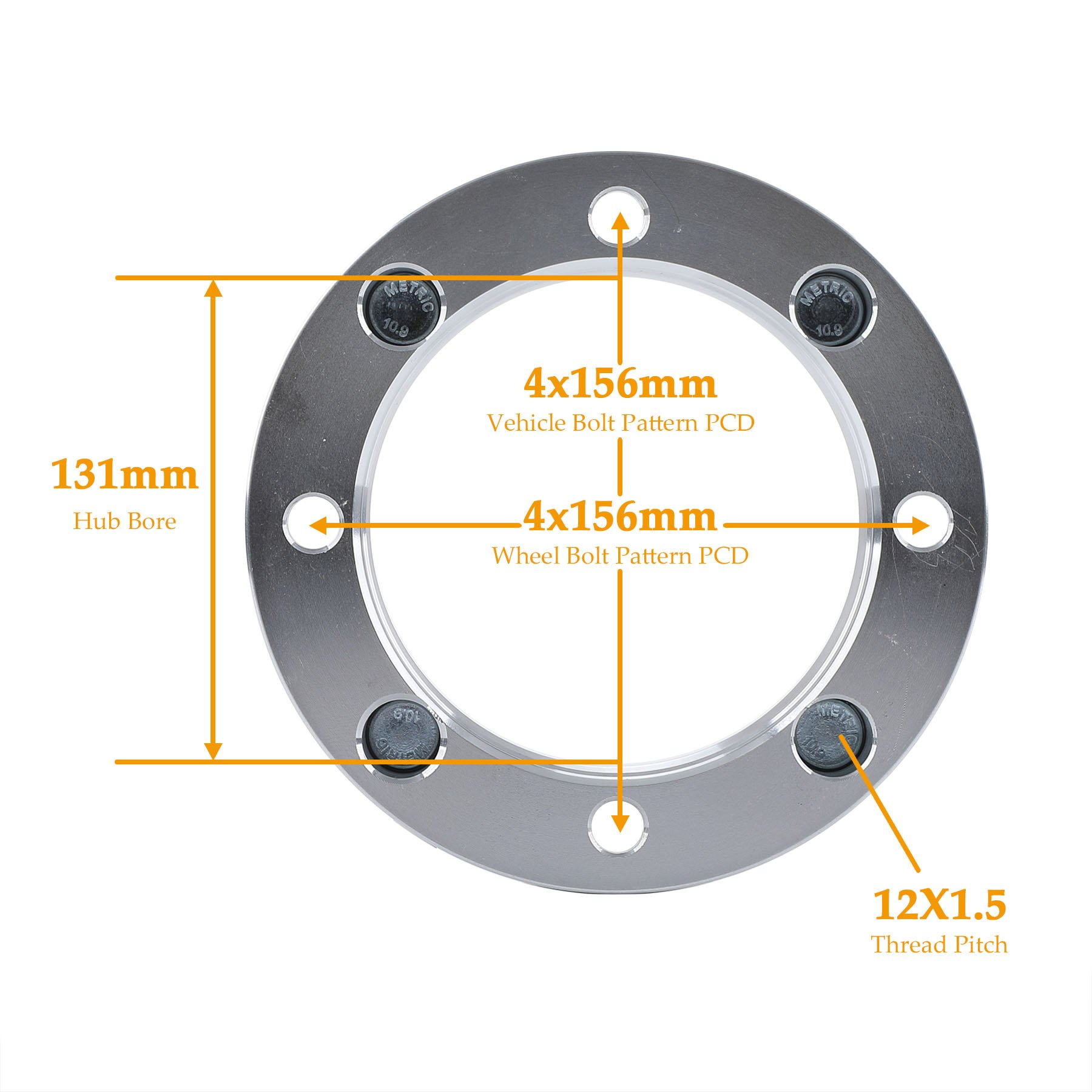 4x156 ATV UTV Wheel Spacers with 12x1.5 Studs for 2014+ Polaris RZR XP 1000, 2015+ Polaris RZR Trail 900, 2015+ Polaris RZR High Performance S 900, 2015+ Polaris RZR Trail 900 XC, 2013+ Polaris Ranger by OrionMotorTech (Image #1)