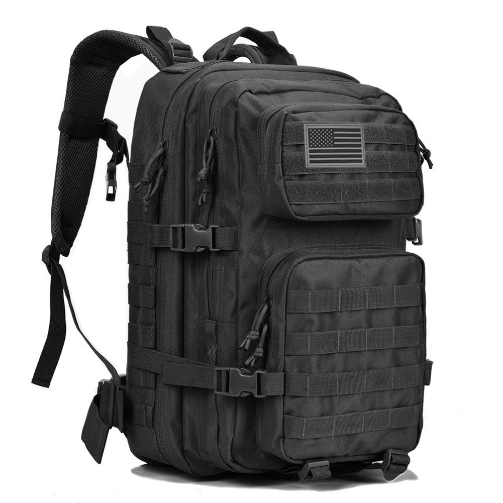 REEBOW GEAR Military Tactical Backpack Large Army 3 Day Assault Pack Molle Bug Bag Backpacks Rucksacks for Outdoor Hiking Camping Trekking Hunting Black by REEBOW GEAR