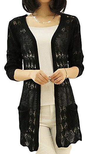 SKCUTE Sweater Knitting cardigan Long knitting casual sweater Black