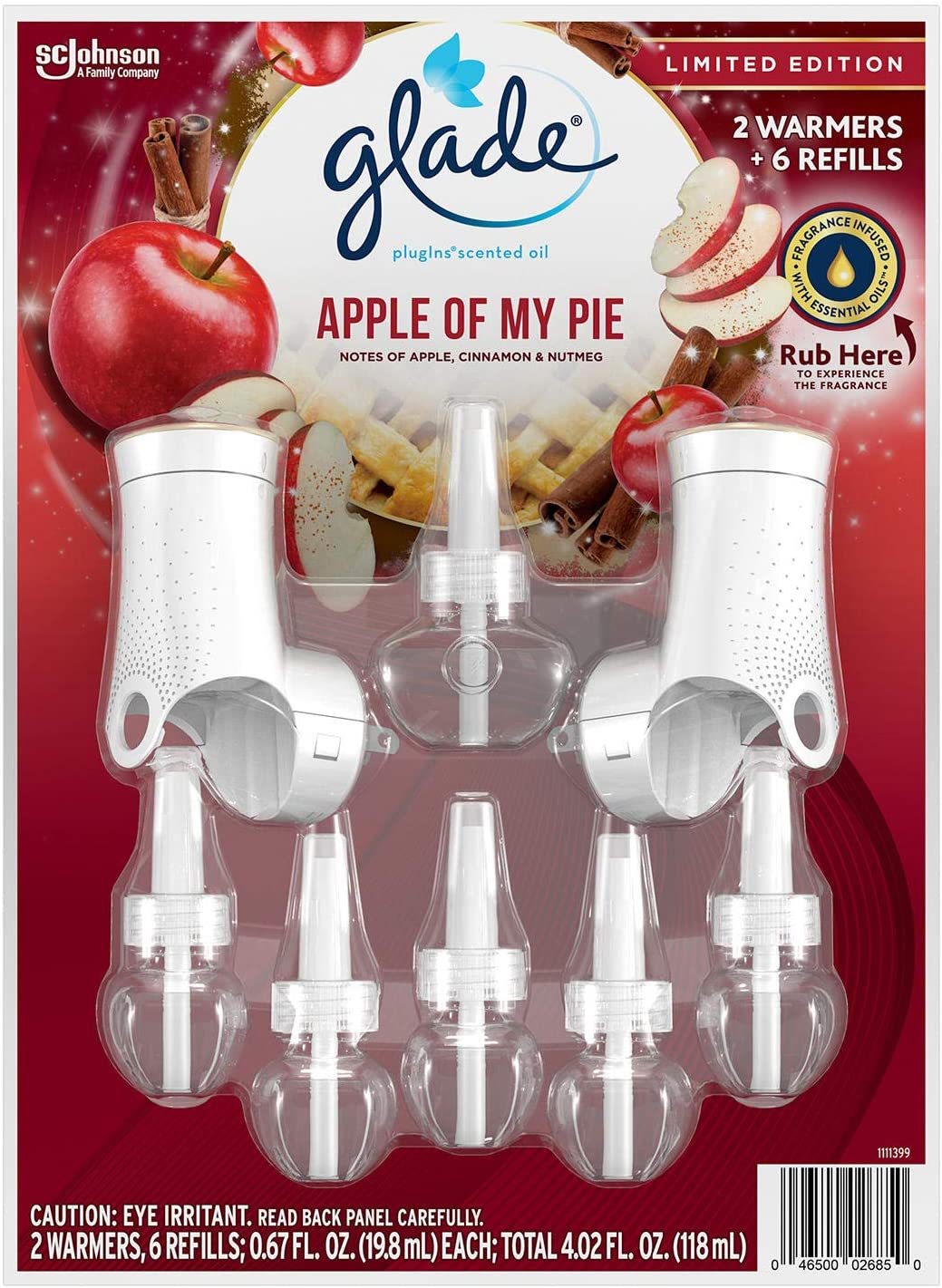 Glade PlugIns 2 Warmers + 6 Refills Holiday (Apple of My Pie)