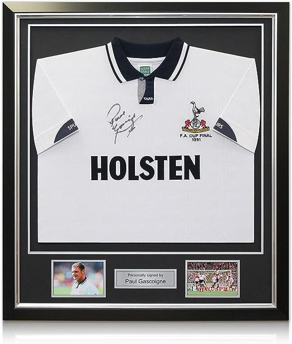 Deluxe enmarcada Paul Gascoigne Firmado Tottenham Hotspur camiseta (con incrustaciones de plata): Amazon.es: Deportes y aire libre