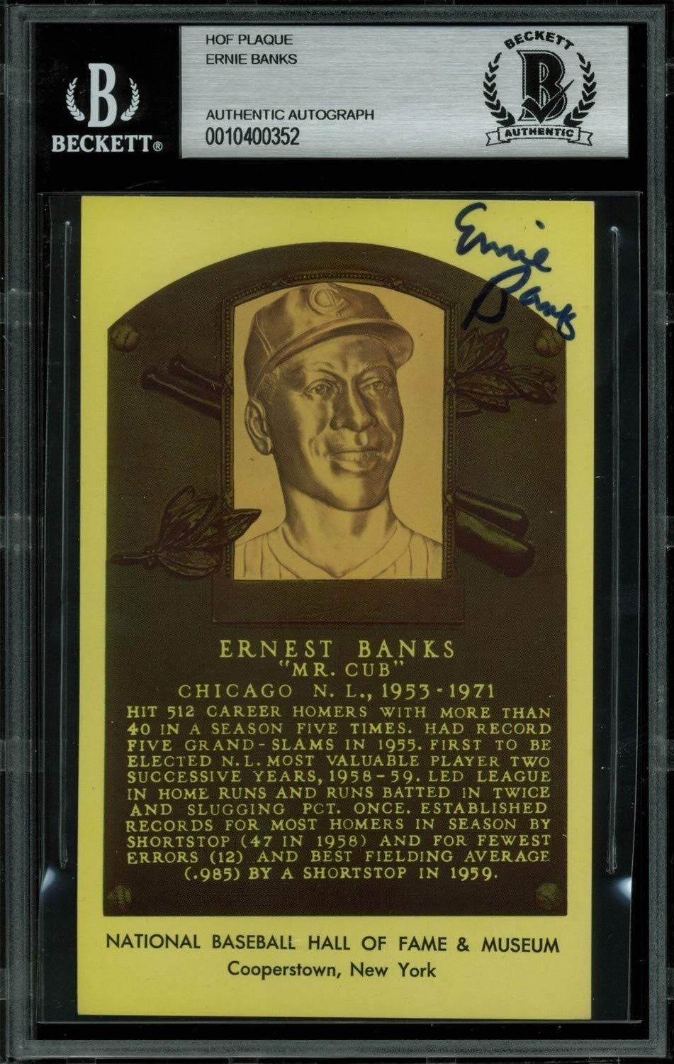 Cubs Ernie Banks Authentic Autographed Signed 3.5X5.5 Hall of FamePlaque Postcard Beckett Authentic