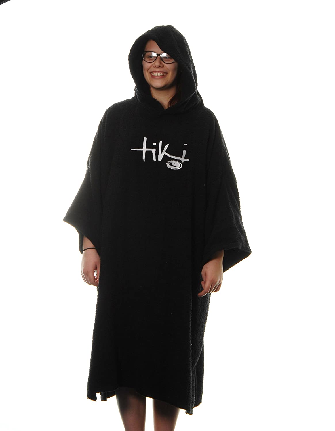 4a6f45f256 Tiki Adult Hooded Towelling Changing Robe Black  Amazon.co.uk  Sports    Outdoors