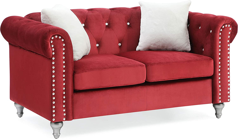 Glory Furniture Raisa , Burgundy Loveseat, 2 Seater