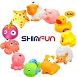 Bath Toy 11 Pack Baby Fun Color and Animal Education Marine life and Land Wilds Rubber Sets for Toddler Boy and Girl with Gift Whistle Toy