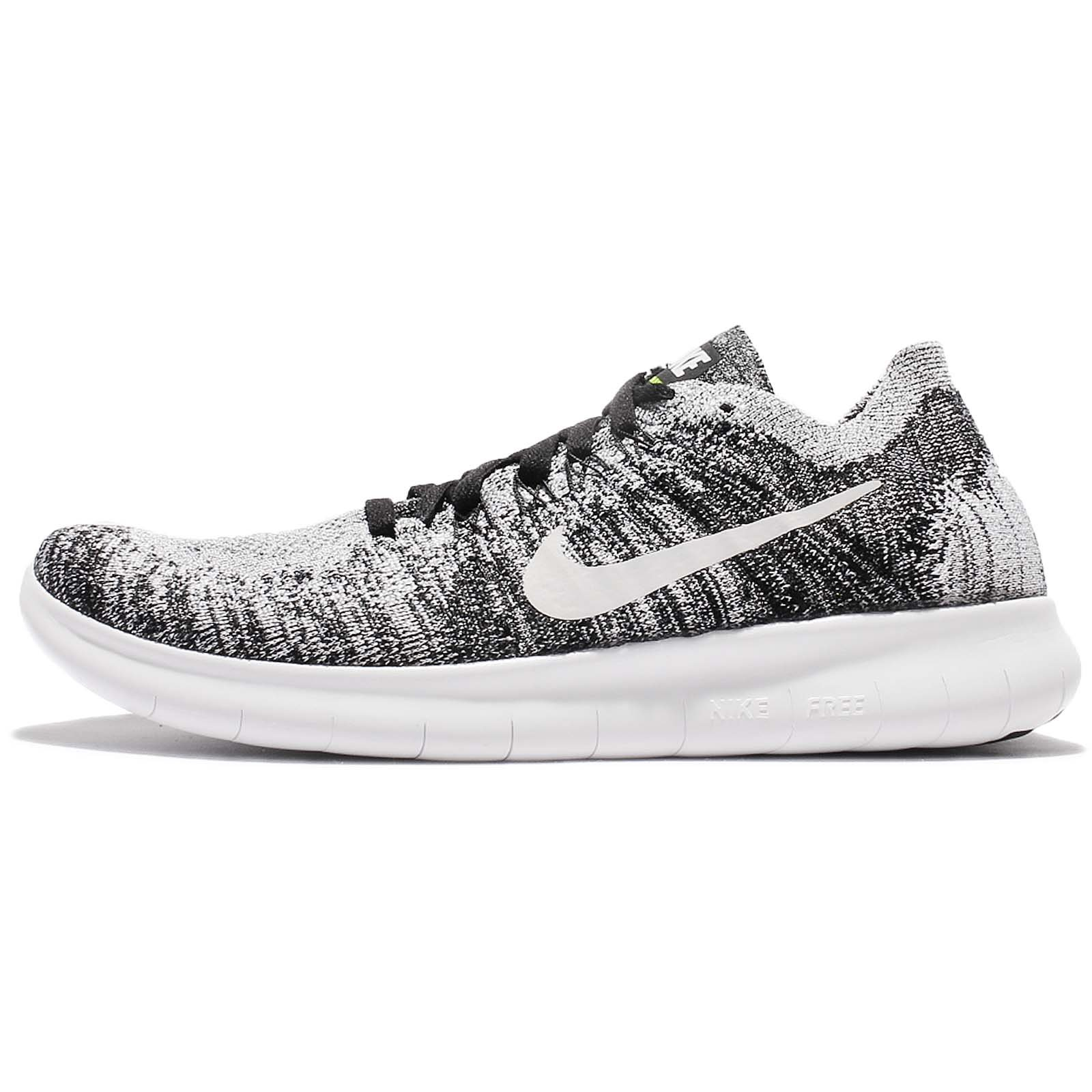 Nike Kids Free RN Flyknit 2017 GS, Black/White-Volt, Youth Size 5