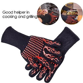 FYX guantes barbacoa de Silicona + Kevlar + Aislamiento de Algodón Resistentes al Calor 500 Grados de Barbacoa Resistente al Calor Grill Guantes de ...