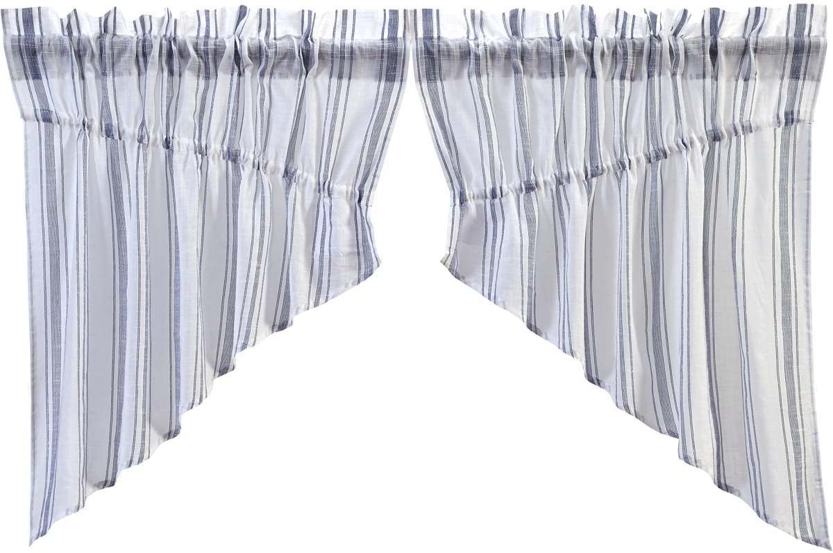 VHC Brands Coastal Farmhouse Kitchen Window Curtains – Finn White Prairie Swag Pair